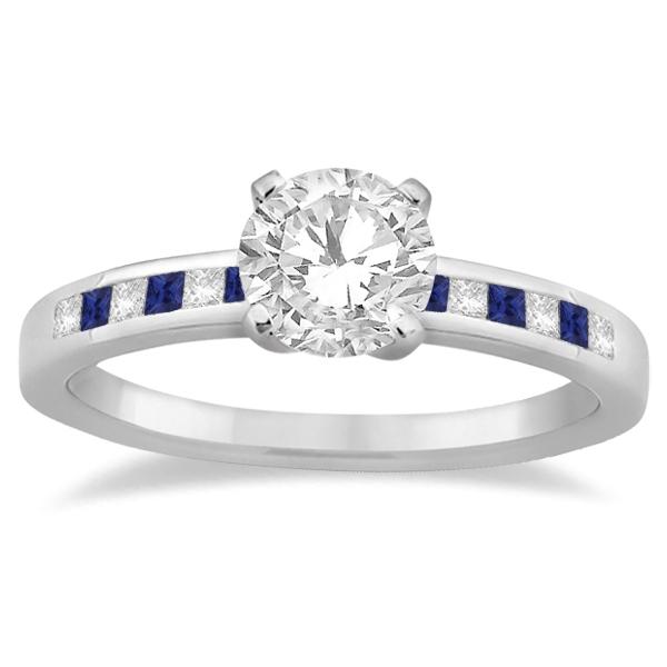 Princess Diamond & Blue Sapphire Bridal Ring Set 14k White Gold (0.54ct)