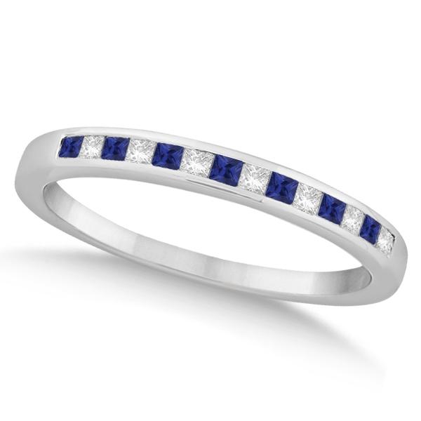 Princess Diamond & Blue Sapphire Bridal Ring Set Palladium (0.54ct)