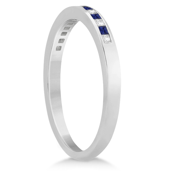 Princess Diamond & Blue Sapphire Wedding Band 14k White Gold (0.34ct)