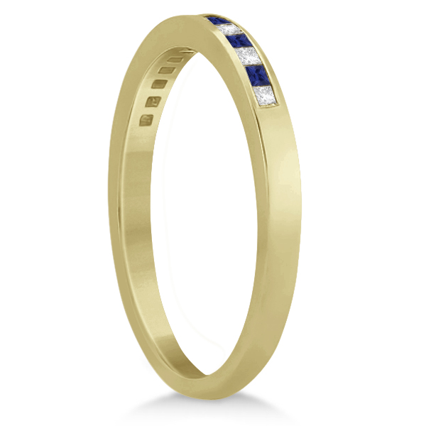 Princess Diamond & Blue Sapphire Wedding Band 18k Yellow Gold (0.34ct)