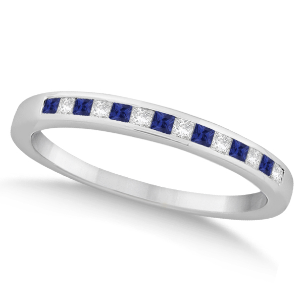 Princess Diamond & Blue Sapphire Wedding Band Palladium (0.34ct)