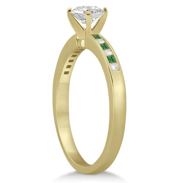 Princess Cut Diamond & Emerald Engagement Ring 14k Yellow Gold (0.20ct)
