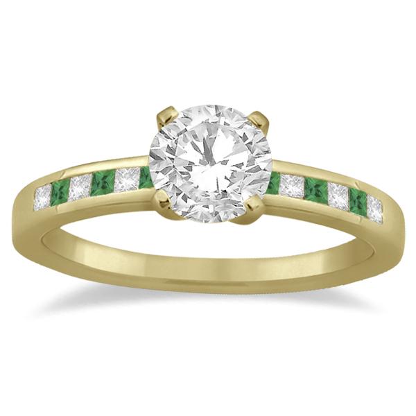 Princess Cut Diamond & Emerald Engagement Ring 18k Yellow Gold (0.20ct)