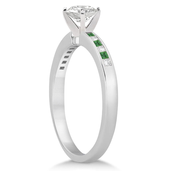 Princess Cut Diamond & Emerald Bridal Ring Set 14k White Gold (0.54ct)