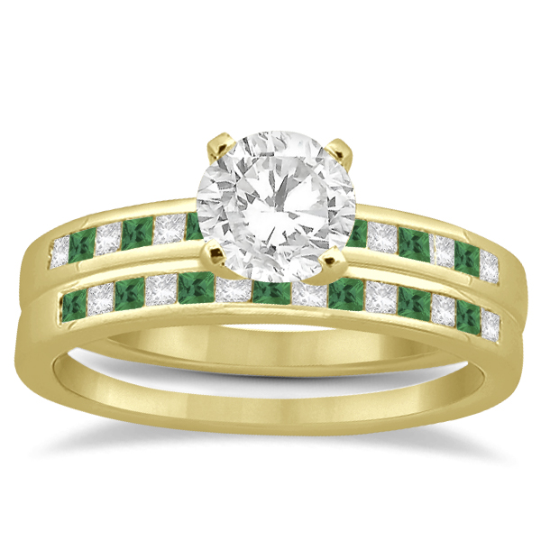Princess Cut Diamond & Emerald Bridal Ring Set 18k Yellow Gold (0.54ct)
