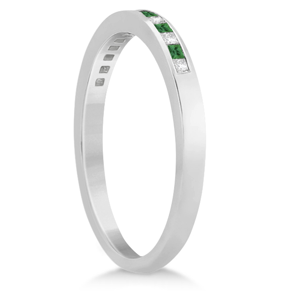 Princess Cut Diamond & Emerald Bridal Ring Set Palladium (0.54ct)
