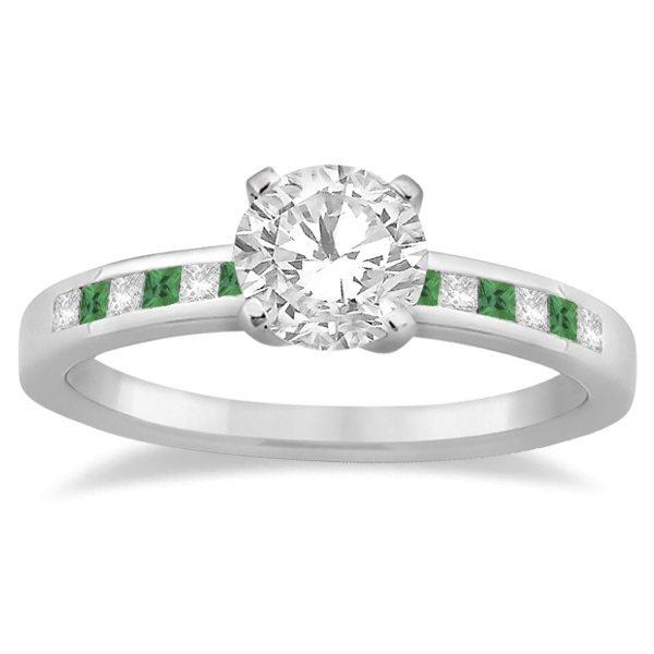 Princess Cut Diamond & Emerald Bridal Ring Set Platinum (0.54ct)