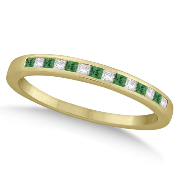 Princess Cut Diamond & Emerald Wedding Band 14k Yellow Gold (0.34ct)