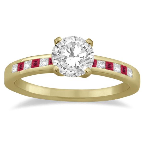 Princess Cut Diamond & Ruby Engagement Ring 14k Yellow Gold (0.20ct)