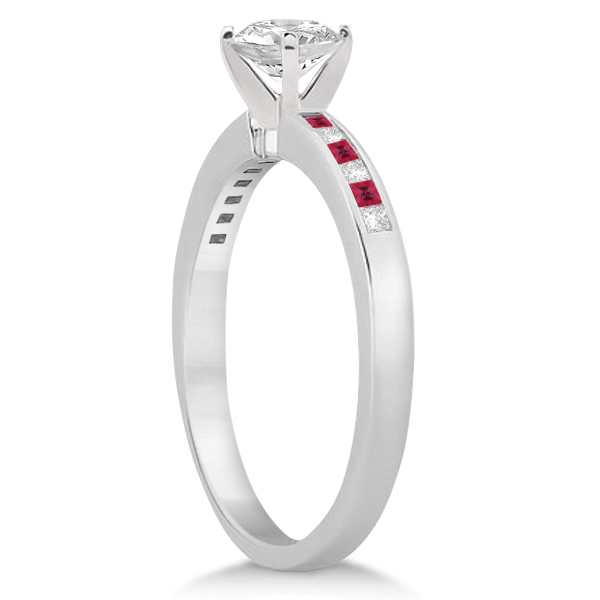 Princess Cut Diamond & Ruby Engagement Ring Palladium (0.20ct)
