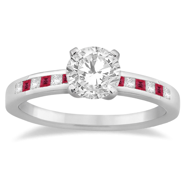 Princess Cut Diamond & Ruby Bridal Ring Set 14k White Gold (0.54ct)