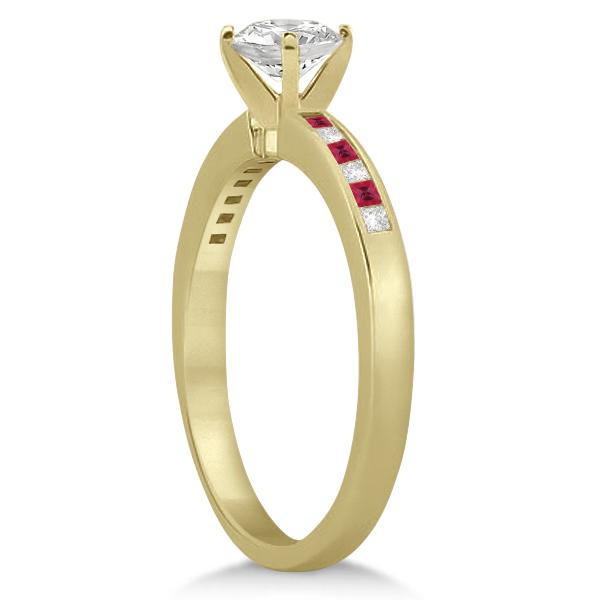 Princess Cut Diamond & Ruby Bridal Ring Set 14k Yellow Gold (0.54ct)