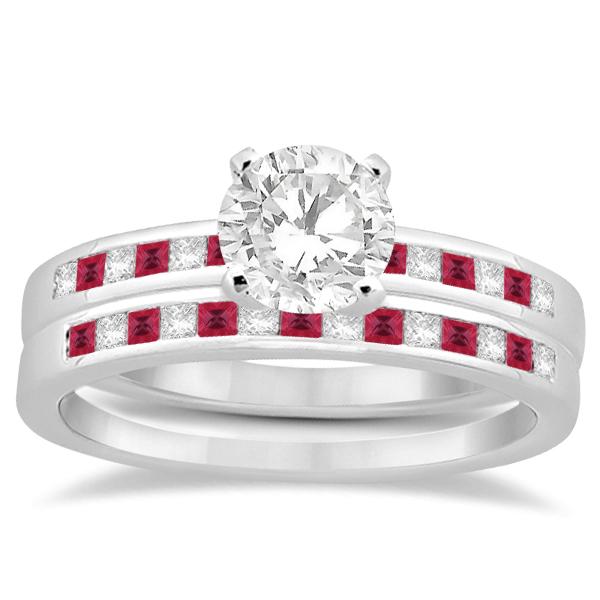 Princess Cut Diamond & Ruby Bridal Ring Set 18k White Gold (0.54ct)
