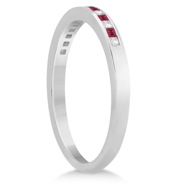 Princess Ruby Gemstone & Diamond Wedding Band 18k White Gold (0.34ct)