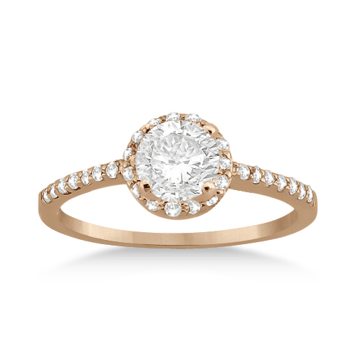 Petite Halo Diamond Engagement Ring Setting 14k Rose Gold (0.25ct)