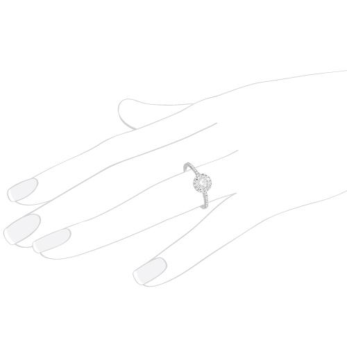 Petite Halo Diamond Engagement Ring Setting 14k White Gold (0.25ct)
