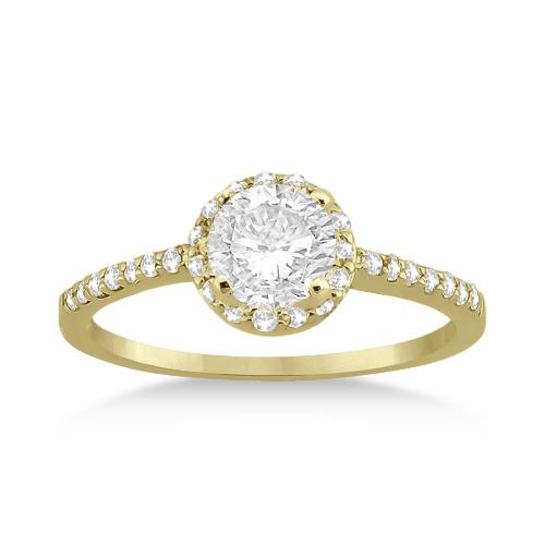 Petite Halo Diamond Engagement Ring Setting 14k Yellow Gold (0.25ct)