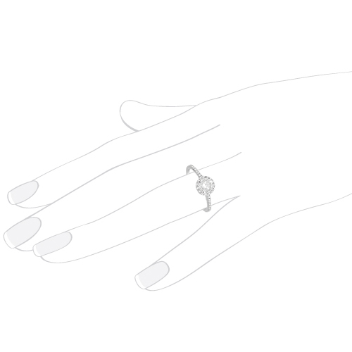 Petite Halo Diamond Engagement Ring Setting 18k White Gold (0.25ct)