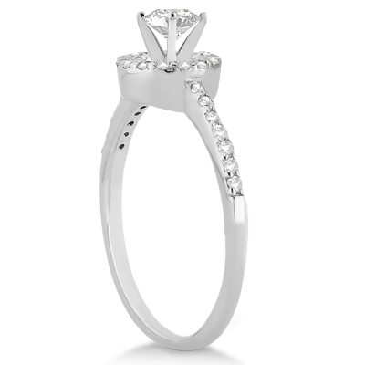 Petite Halo Diamond Engagement Ring Setting Platinum (0.25ct)
