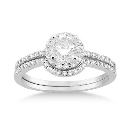 Petite Halo Diamond Engagement Ring & Band 14k White Gold (0.40ct)