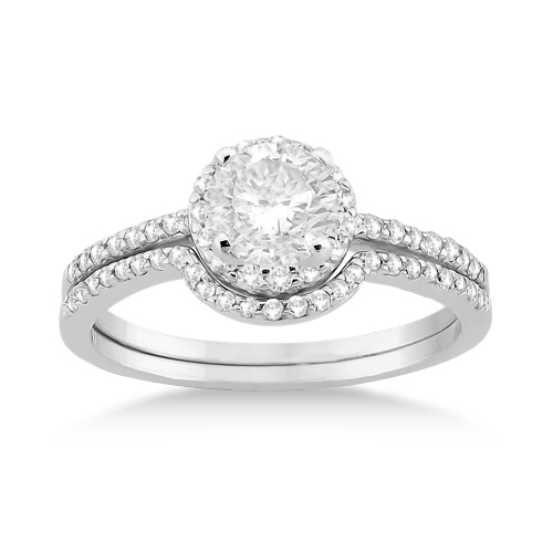 Petite Halo Diamond Engagement Ring & Wedding Band Palladium (0.40ct)