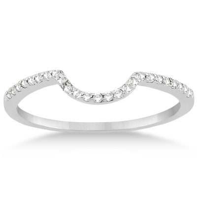Contoured Band Pave Diamond Wedding Ring 14k White Gold (0.15ct)