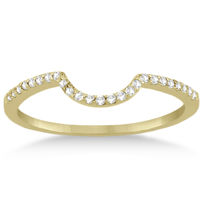 Contoured Band Pave Diamond Wedding Ring 14k Yellow Gold (0.15ct)