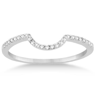 Contoured Band Pave Diamond Wedding Ring Platinum (0.15ct)