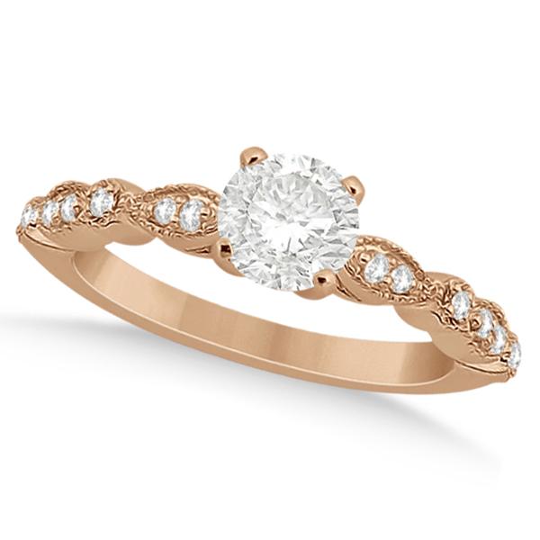 Petite Marquise & Dot Diamond Engagement Ring 14k Rose Gold (0.12ct)