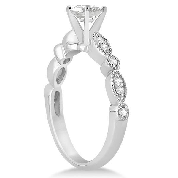 Petite Marquise & Dot Diamond Engagement Ring 18k White Gold (0.12ct)