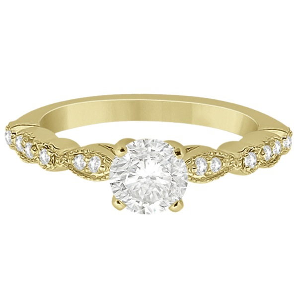 Petite Marquise & Dot Diamond Engagement Ring 18k Yellow Gold (0.12ct)