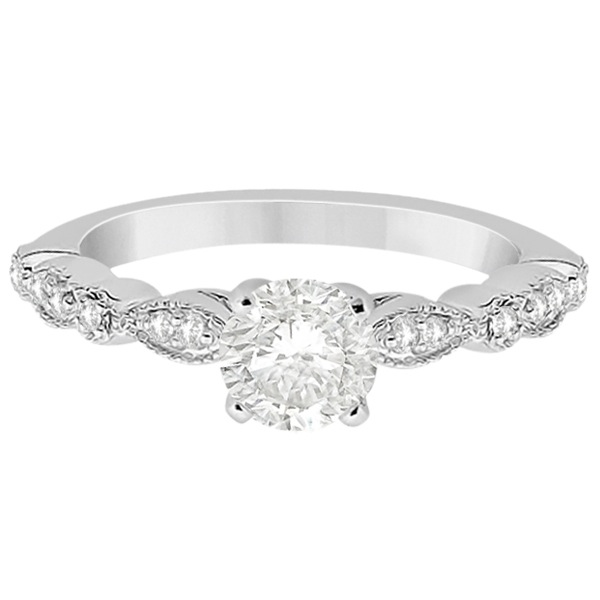 Petite Marquise & Dot Diamond Engagement Ring Platinum (0.12ct)