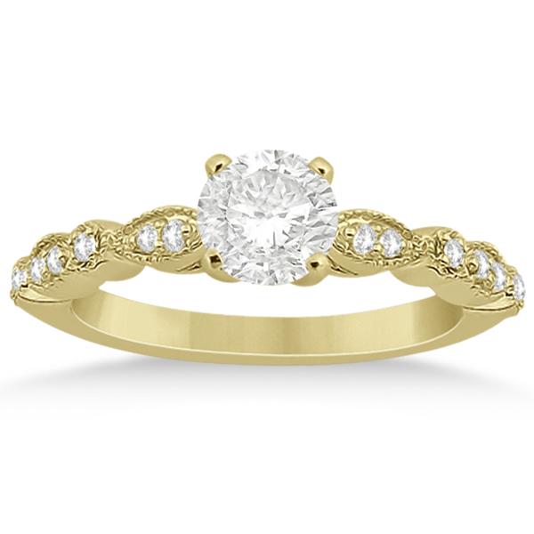 Petite Marquise & Dot Diamond Bridal Ring Set in 14k Yellow Gold (0.25ct)