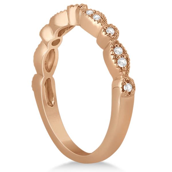 Petite Marquise & Dot Diamond Bridal Ring Set in 18k Rose Gold (0.25ct)