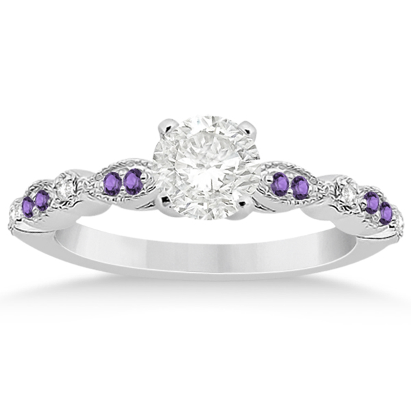 Marquise & Dot Diamond Amethyst Engagement Ring 18k White Gold 0.24ct