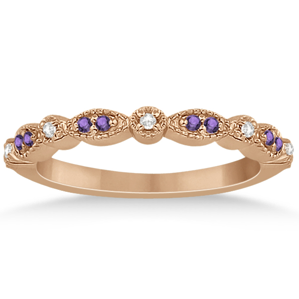 Marquise & Dot Amethyst Diamond Ring Band 14k Rose Gold 0.25ct