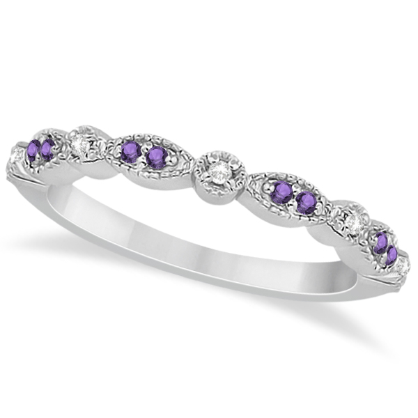Marquise & Dot Amethyst Diamond Ring Band 14k White Gold 0.25ct