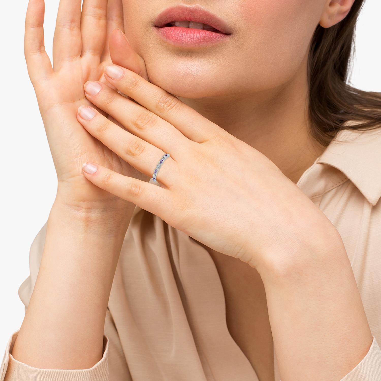 Marquise & Dot Amethyst Diamond Ring Band 14k White Gold 0.25ct