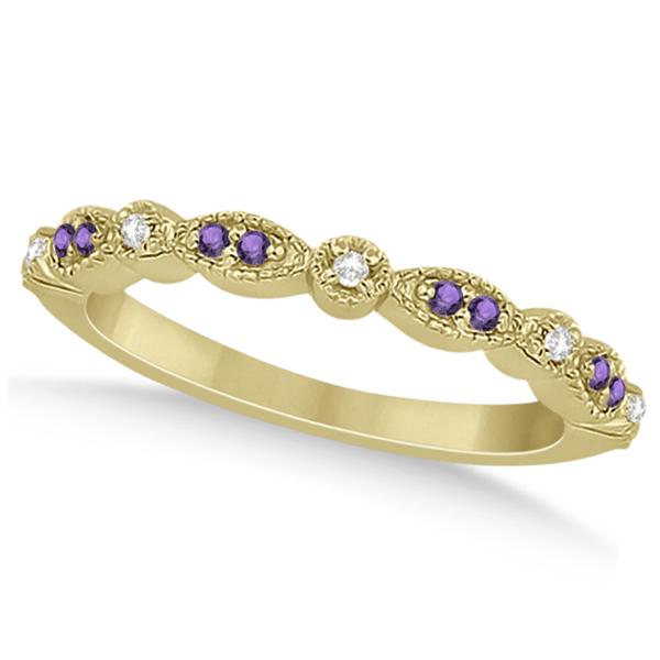 Marquise & Dot Amethyst Diamond Ring Band 18k Yellow Gold 0.25ct