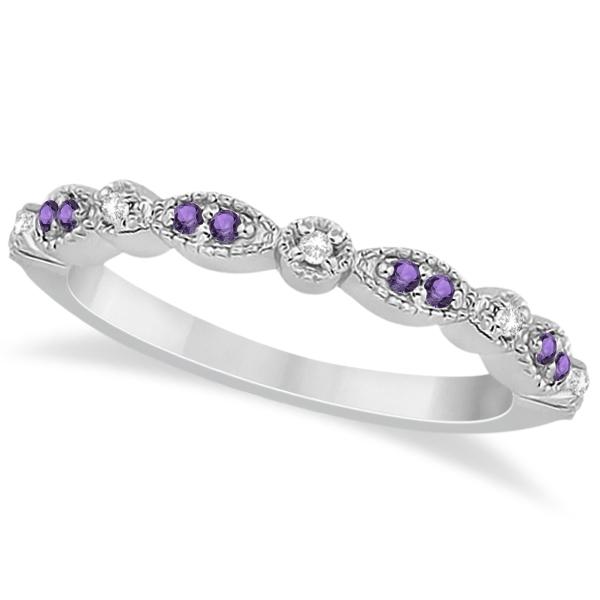 Marquise & Dot Amethyst Diamond Ring Band Palladium 0.25ct