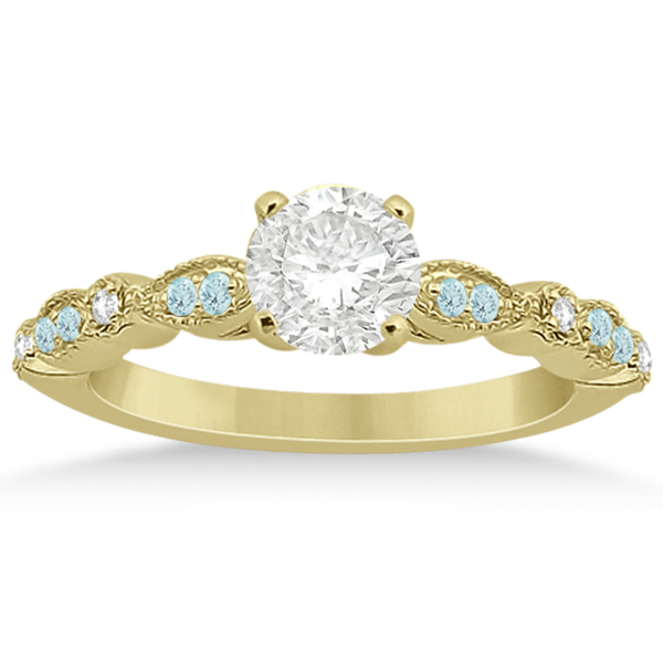 Marquise Aquamarine Diamond Engagement Ring 14k Yellow Gold 0.24ct