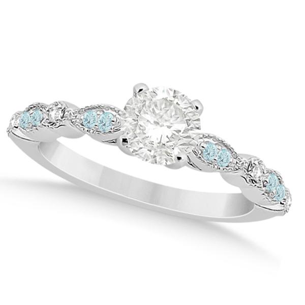 Marquise Aquamarine Diamond Engagement Ring Palladium 0.24ct