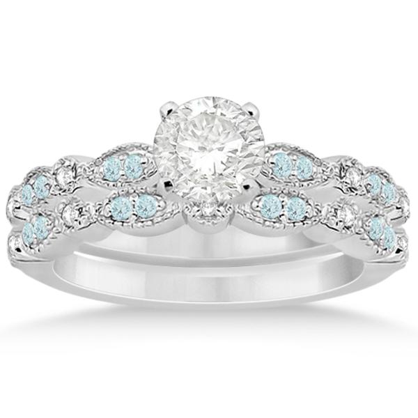 Marquise & Dot Aquamarine Diamond Bridal Set 14k White Gold (0.49ct)