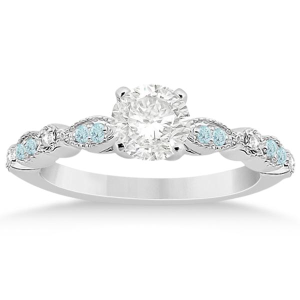 Marquise & Dot Aquamarine Diamond Bridal Set 18k White Gold (0.49ct)