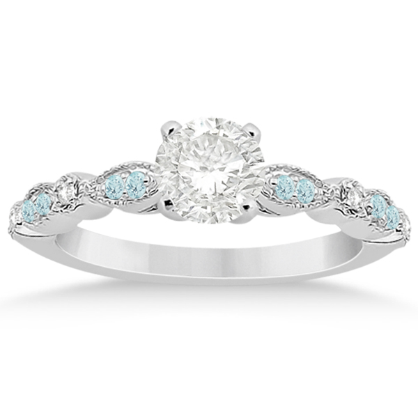 Marquise & Dot Aquamarine Diamond Bridal Set Palladium (0.49ct)