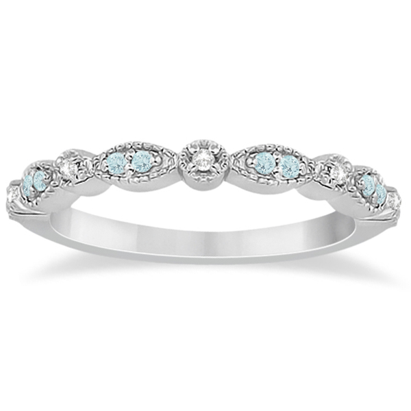 Marquise & Dot Aquamarine Diamond Bridal Set Platinum (0.49ct)