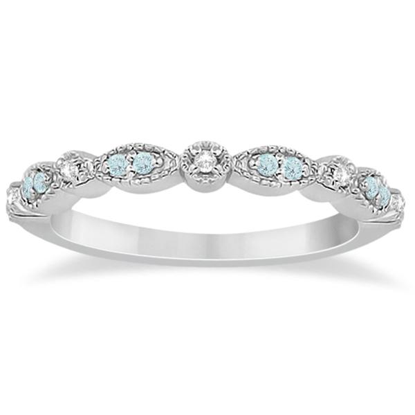 Marquise & Dot Aquamarine Diamond Wedding Band 14k White Gold 0.25ct