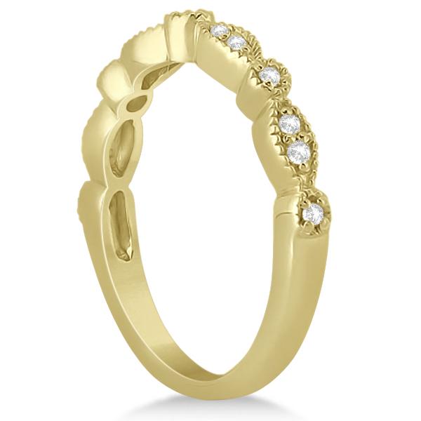 Petite Marquise & Dot Diamond Wedding Band in 14k Yellow Gold (0.13ct)
