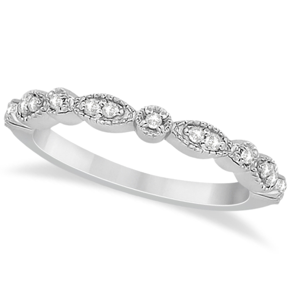 Petite Marquise & Dot Diamond Wedding Band in 18k White Gold (0.13ct)