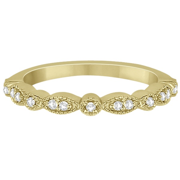 Petite Marquise & Dot Diamond Wedding Band in 18k Yellow Gold (0.13ct)